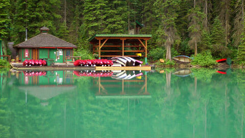 Emerald Lake Boat House stock footage