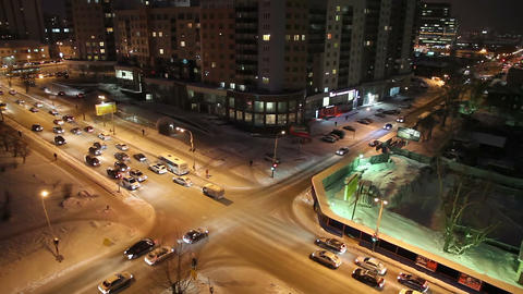 Night crossroads, Yekaterinburg, ul. Kuibyshev - s Footage