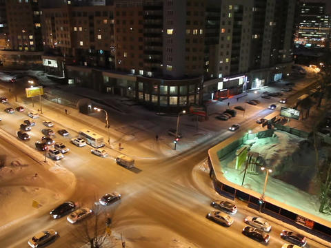 Night crossroads, Yekaterinburg, ul. Kuibyshev - s Stock Video Footage