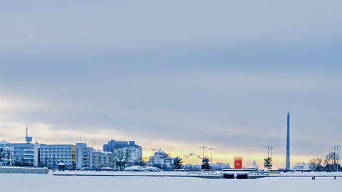 Embankment Yekaterinburg. Russia. Time Lapse Footage