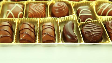 Chocolates box, sweet pralines Stock Video Footage