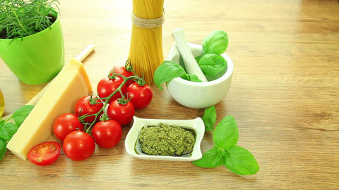 Fresh italian food ingredients on table Stock Video Footage