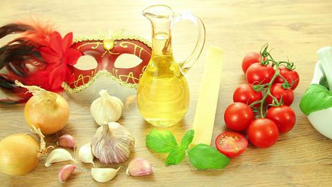 Italian food ingredients with Venetian mask Stock Video Footage
