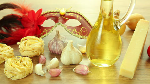 Italian food ingredients with Venetian mask Stock Video Footage