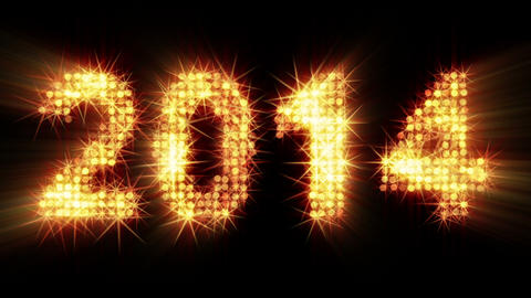 new year 2014 greeting glowing yellow particles Stock Video Footage