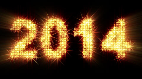 new year 2014 greeting glowing yellow particles Animation