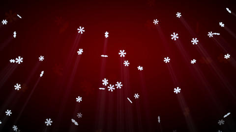 Seamless Loop Snowfall On Red With Luma Matte stock footage