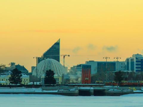 Central embankment. Ekaterinburg. Russia. Time Lap Stock Video Footage