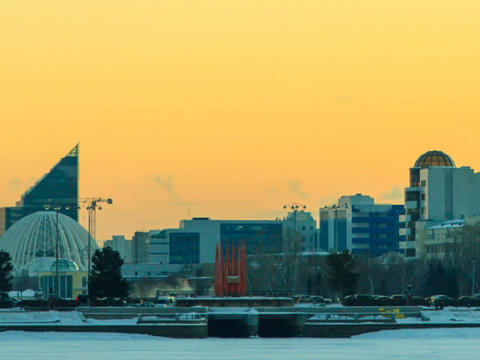 Central embankment. Ekaterinburg. Russia. Time Lap Footage