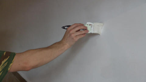 painted wall with white paint Footage