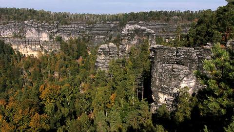 Rocks in the Czech Switzerland Stock Video Footage