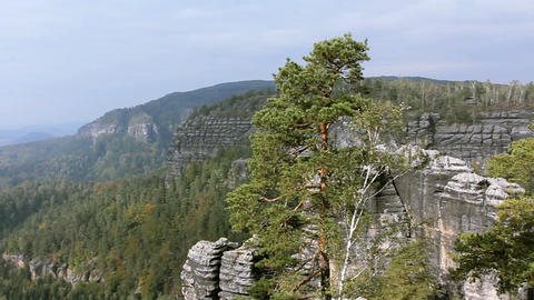 Panorama of Rocks in the Czech Switzerland Stock Video Footage