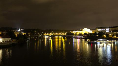 Vltava River at night. Prague. Czech Republic. Tim Stock Video Footage