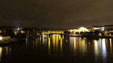 Vltava River at night. Prague. Czech Republic. Tim Stock Video Footage