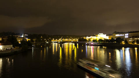 Vltava River at night. Prague. Czech Republic. Tim Footage