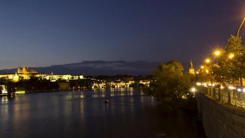 Vltava River and Charles Bridge at night. Prague. Stock Video Footage