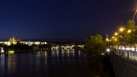 Vltava River and Charles Bridge at night. Prague.  Footage