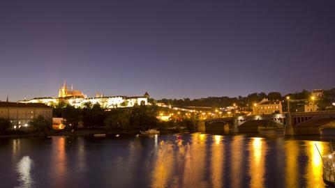 Prague, Czech Republic. Night. Time Lapse Stock Video Footage