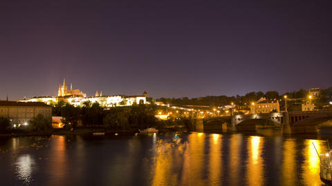 Prague, Czech Republic. Night. Time Lapse Stock Video Footage