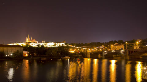 Prague, Czech Republic. Night. Time Lapse Footage
