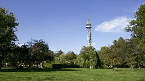Petrin tower. Prague. Time Lapse Stock Video Footage