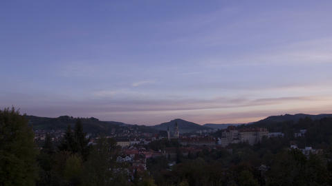 Sunset over Cesky Krumlov, Czech Republic. Time La Stock Video Footage