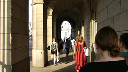 People passing through Admiralty Arch, London UK ( Stock Video Footage