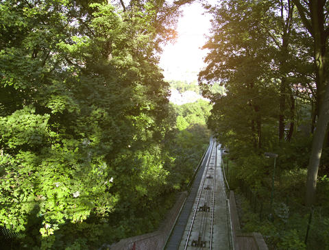 The Petrin funicular. Prague. Time Lapse Footage