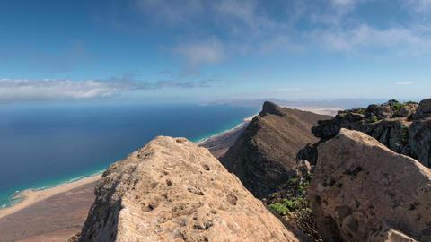 time lapse clouds on top of Pico de la Zarza 11133 Stock Video Footage