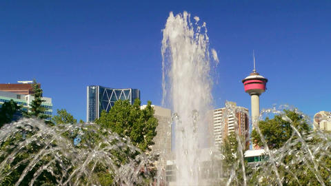 Fountain and Calgary Tower Stock Video Footage