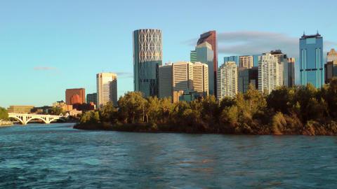Calgary Waterfront Skyline Stock Video Footage