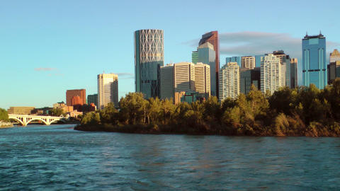 Calgary Waterfront Skyline Footage