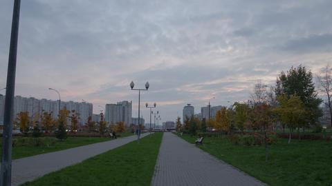 Boulevard walk sunset hyperlapse 4K Stock Video Footage