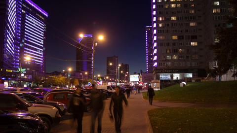 New Arbat street night hyperlapse Stock Video Footage