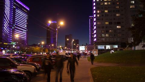 New Arbat street night hyperlapse Stock Video Footage