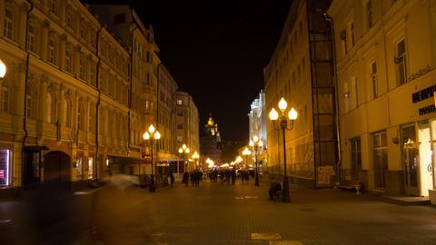 Old Arbat street night hyperlapse Stock Video Footage