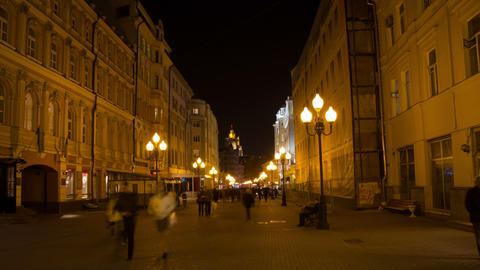 Old Arbat street night hyperlapse Stock Video Footage