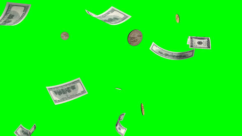 Flying banknotes,coins of dollars.Isolated green a Stock Video Footage