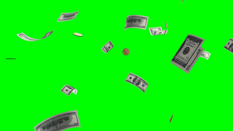 Flying banknotes,coins of dollars.Isolated green a Animation