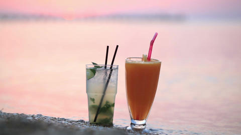 Cocktails at sunset Stock Video Footage