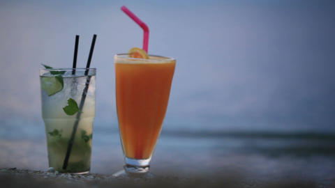 Cocktails at evening seashore Stock Video Footage