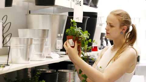 Young blond woman looking at vases with plants in  Footage