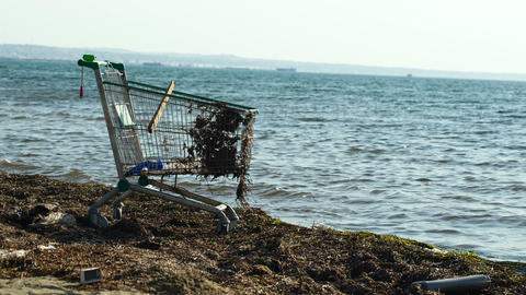 Abandoned shopping trolley on the beach Footage