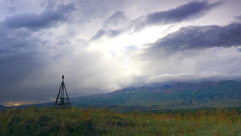 4K Mountain Landscape with Geodesic Tower time lap Stock Video Footage