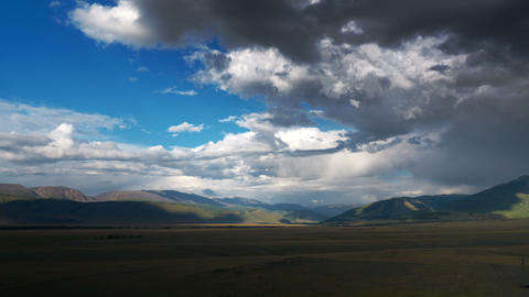 4K Steppe landscape with clouds time lapse Stock Video Footage