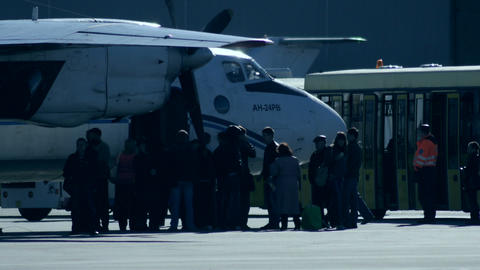 Boarding into a Small Plane Stock Video Footage