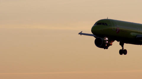 Landing Of Passenger Plane At Dawn stock footage