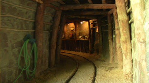 mining tunnel 01 Stock Video Footage
