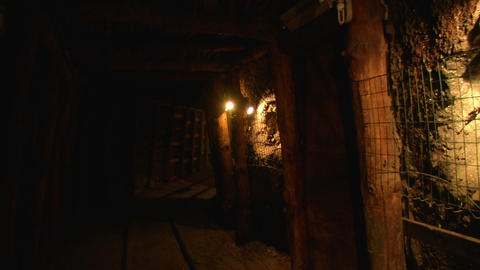 mining tunnel 03 Stock Video Footage