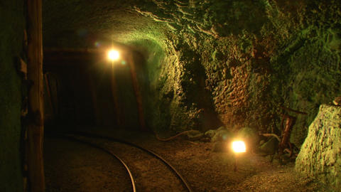 mining tunnel 05 Stock Video Footage